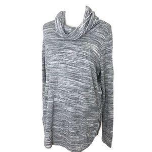 Lou & grey cozy gray space dye cowl neck sweater L